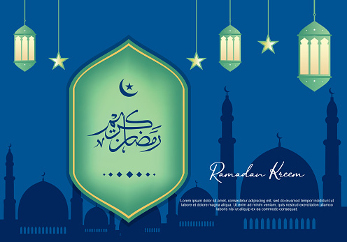 Vector Ramadan Kareem celebration with arabic calligraphy, crescent and lantern. Luxury background with decorative design, crescent and dome silhouette. Arabic calligraphy means: Holy Ramadan.