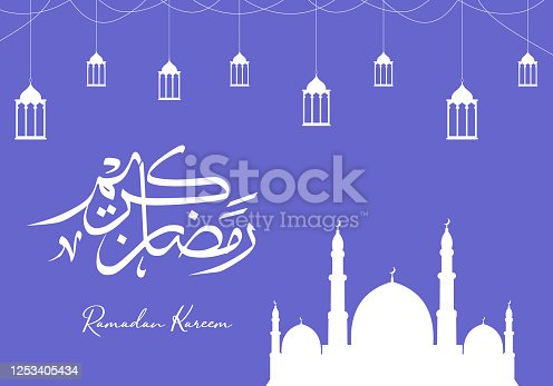 istock Vector Ramadan Kareem celebration with arabic calligraphy, crescent, mosque, and lantern. Luxury background with decorative design. Arabic calligraphy means: Holy Ramadan. Blue color theme. 1253405434