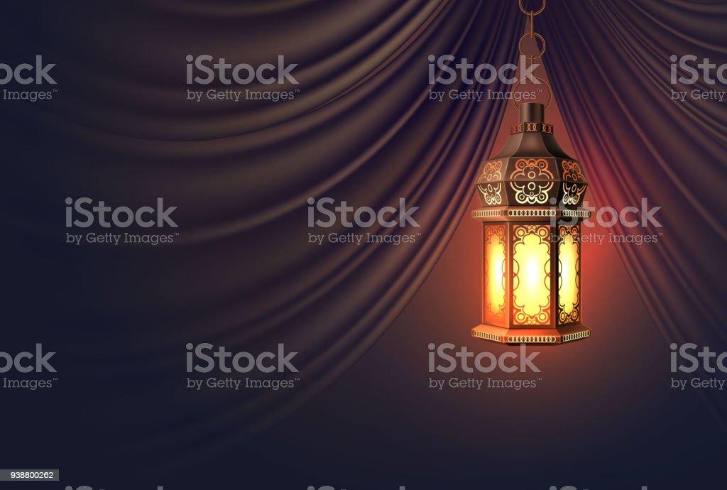 Cortina de vector Ramadán kareem linterna realista - ilustración de arte vectorial