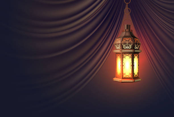 vector ramadan kareem lantern realistic curtain - ramadan stock illustrations, clip art, cartoons, & icons
