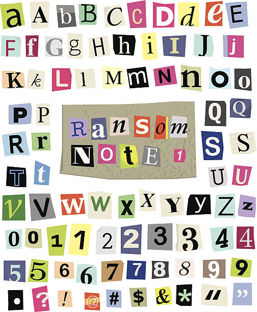 vector ransom note #1- cut paper letters, numbers, symbols - conspiracy stock illustrations