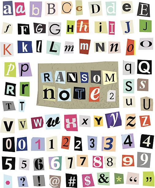 ilustrações, clipart, desenhos animados e ícones de vetor ransom nota de papel cortado#2 letras, números e símbolos - mensagem