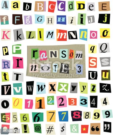 Vector cut newspaper and magazine letters, numbers, and symbols. Mixed upper case and lower case and multiple options for each one. Perfect design elements for a ransom note, creative typography, and more. High resolution transparent .psd included.