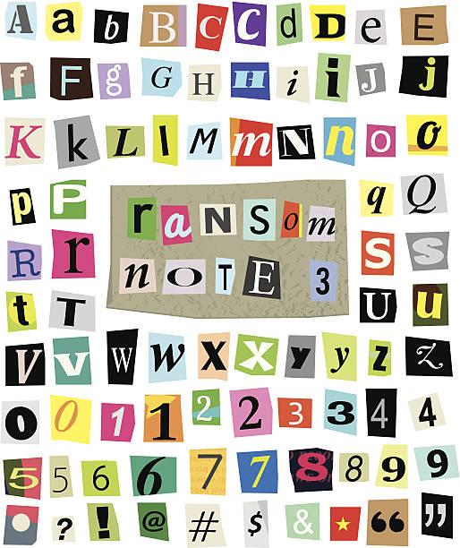 ilustrações, clipart, desenhos animados e ícones de vetor ransom nota de papel cortado#3 letras, números e símbolos - mensagem