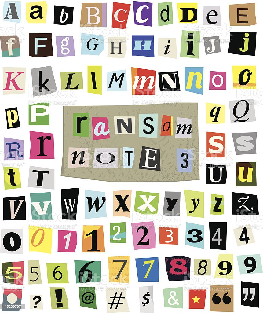 Vector Ransom Note #3- Cut Paper Letters, Numbers, Symbols vector art illustration