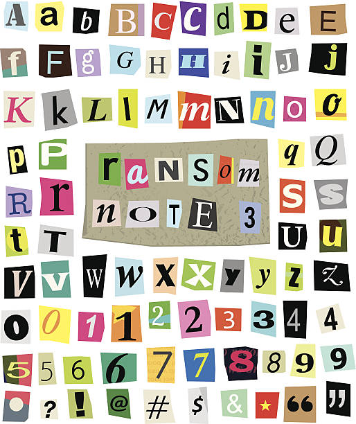 Vector Ransom Note #3- Cut Paper Letters, Numbers, Symbols Vector cut newspaper and magazine letters, numbers, and symbols. Mixed upper case and lower case and multiple options for each one. Perfect design elements for a ransom note, creative typography, and more. High resolution transparent .psd included. bribing stock illustrations