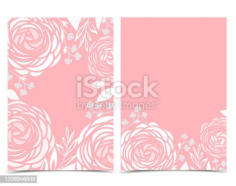Vector illustration of ranunculus flower. Decoration of flowers on a background. Floral invitations