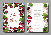 Vector Raspberry healthy food isolated. Red and green engraved ink art. Wedding background card floral decorative border. Thank you, rsvp, invitation elegant card illustration graphic set banner.