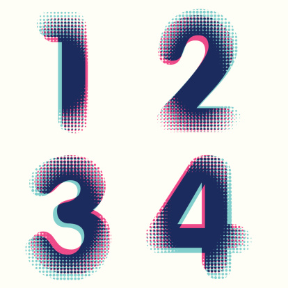 Vector raster dotted bitmap graphic numbers
