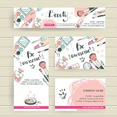 Vector ready design template for makeup artist, makeup studio or cosmetics shop. Site header,  business card, brochure and flyer. Doodle style, pastel colors. Be awesome
