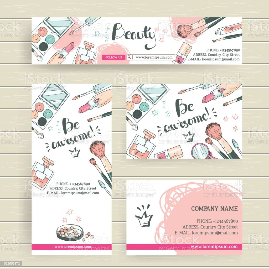 Vector ready design template for makeup artist, makeup studio or vector art illustration