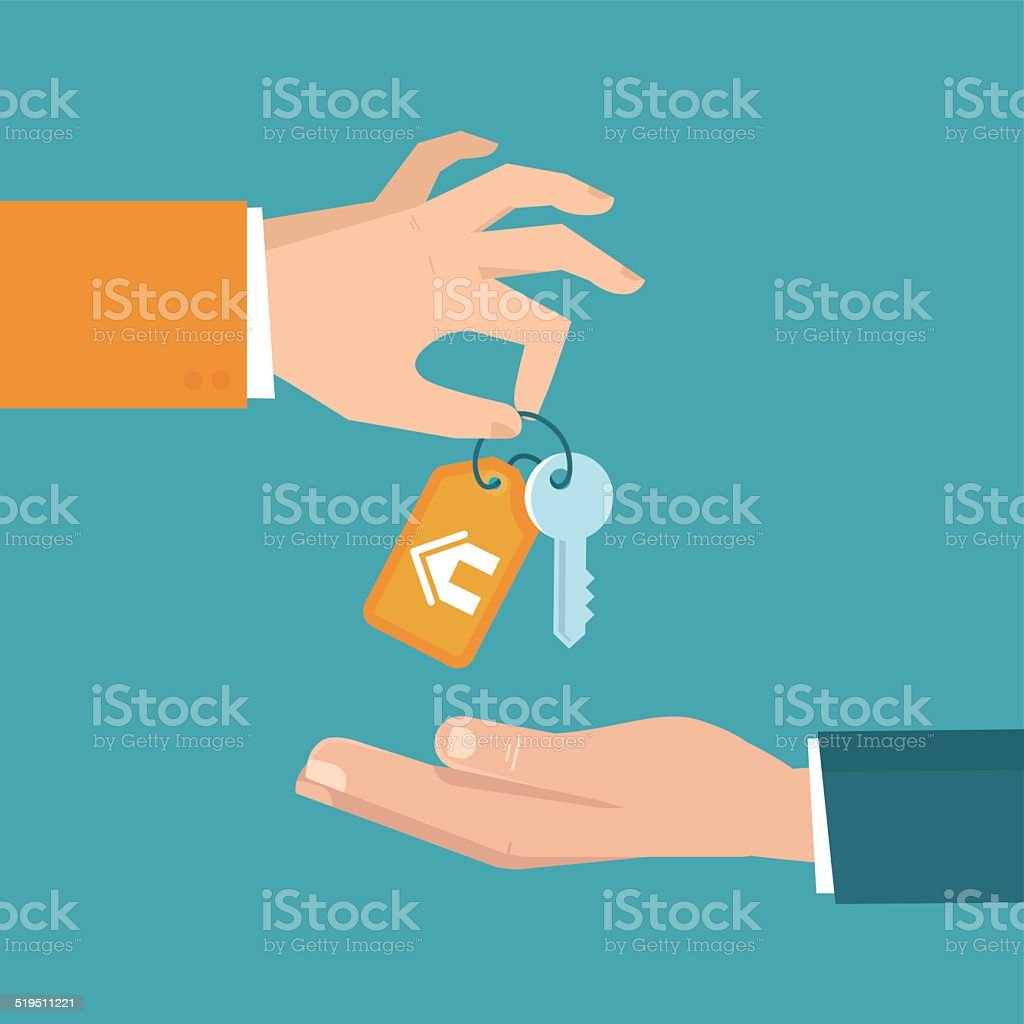 Vector real estate concept in flat style Vector real estate concept in flat style - hands giving keys - sell house icon Agreement stock vector