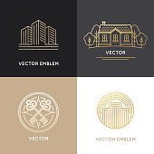 Vector real estate logo design templates in trendy linear style - houses and buildings