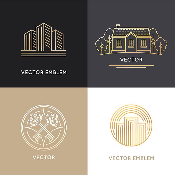 vektor-real immobilien logo-design-vorlagen - landhaus stock-grafiken, -clipart, -cartoons und -symbole