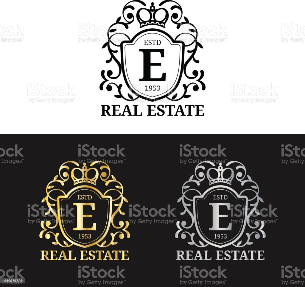 Vector real estate monogram icon templates luxury letters design vector real estate monogram icon templates luxury letters design graceful vintage characters with crown biocorpaavc Image collections