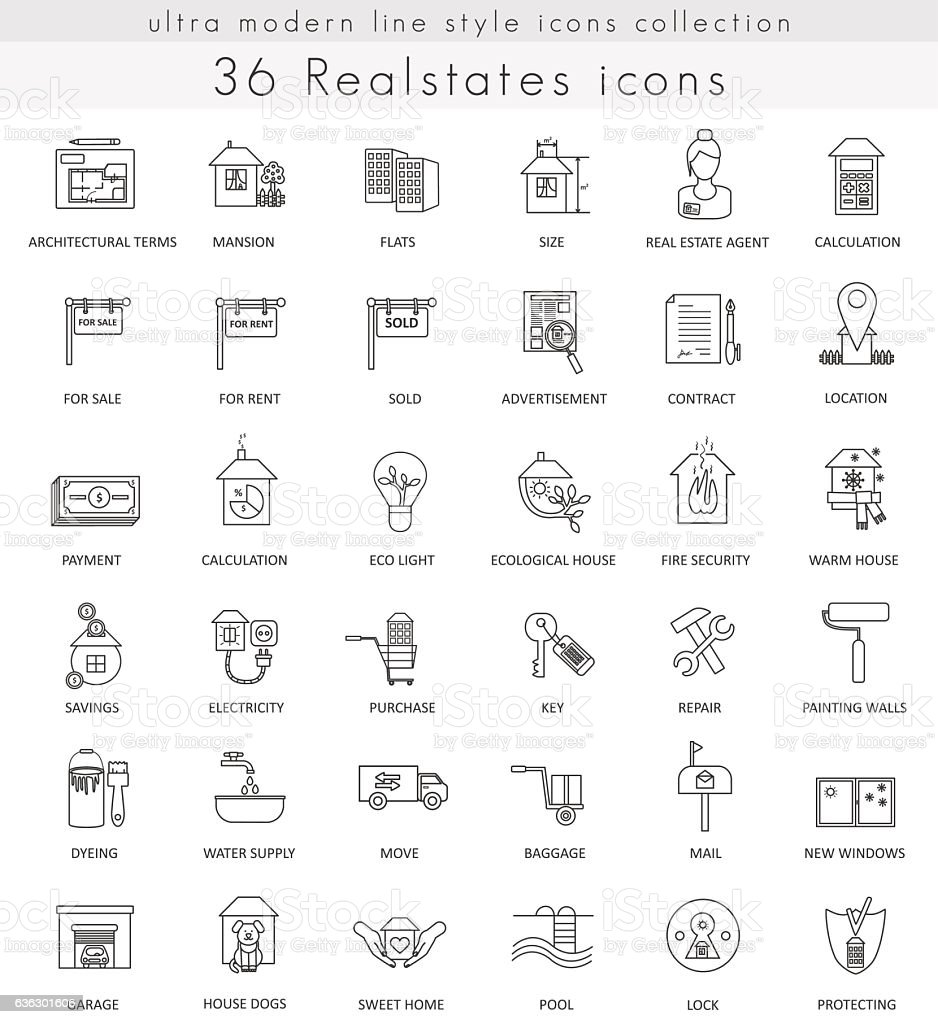 Vector Real estates house ultra modern outline line icons for vector art illustration