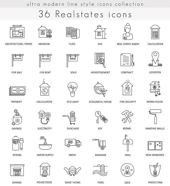 vector real estates house ultra modern outline line icons for - vermietung stock-grafiken, -clipart, -cartoons und -symbole