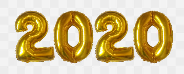 Vector realistic 2020 golden air balloons vector art illustration