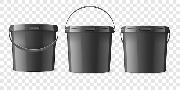 Vector Realistic 3d Black Plastic Bucket for Food Products, Paint, Foodstuff, Adhesives, Sealants, Primers, Putty Set Isolated. Design Template of Packagin for Mockup. Front view
