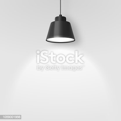 istock Vector Realistic 3d Black Spotlight, Hang Ceiling Lamp or Chandelier on Rope Illuminating the Wall Closeup on Grey Background. Design Template of Glowing Interior Spot Lamp with light 1059001956
