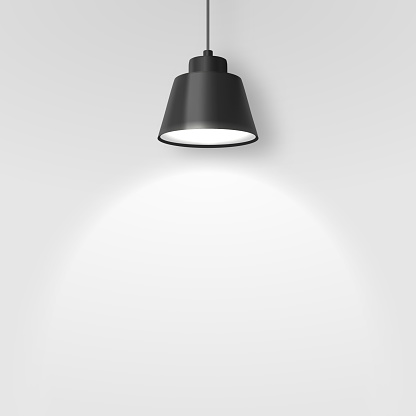 Vector Realistic 3d Black Spotlight, Hang Ceiling Lamp or Chandelier on Rope Illuminating the Wall Closeup on Grey Background. Design Template of Glowing Interior Spot Lamp with light