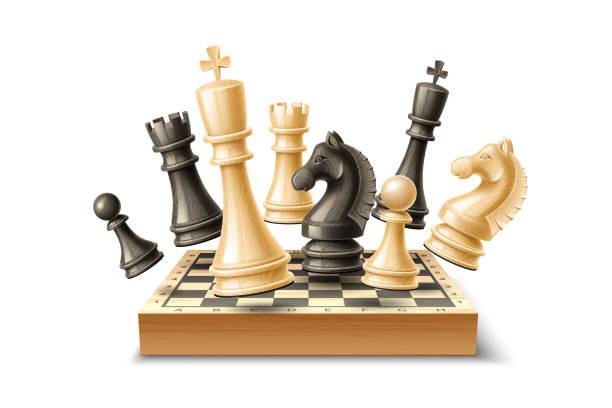 illustrations, cliparts, dessins animés et icônes de ensemble de pièces d'échecs 3d réalistes vecteur échiquier - échec