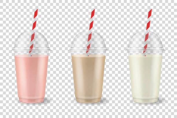 bildbanksillustrationer, clip art samt tecknat material och ikoner med vector realistiska 3d klar plast transparent engångsskålen med röret. frukt och bär smoothies eller juice drink - jordgubb, hallon, körsbär, banan, choklad, kaffe. rosa, brun och vit. mugg av ekologiska skaka, cocktail. vegetarisk friska natu - smoothie