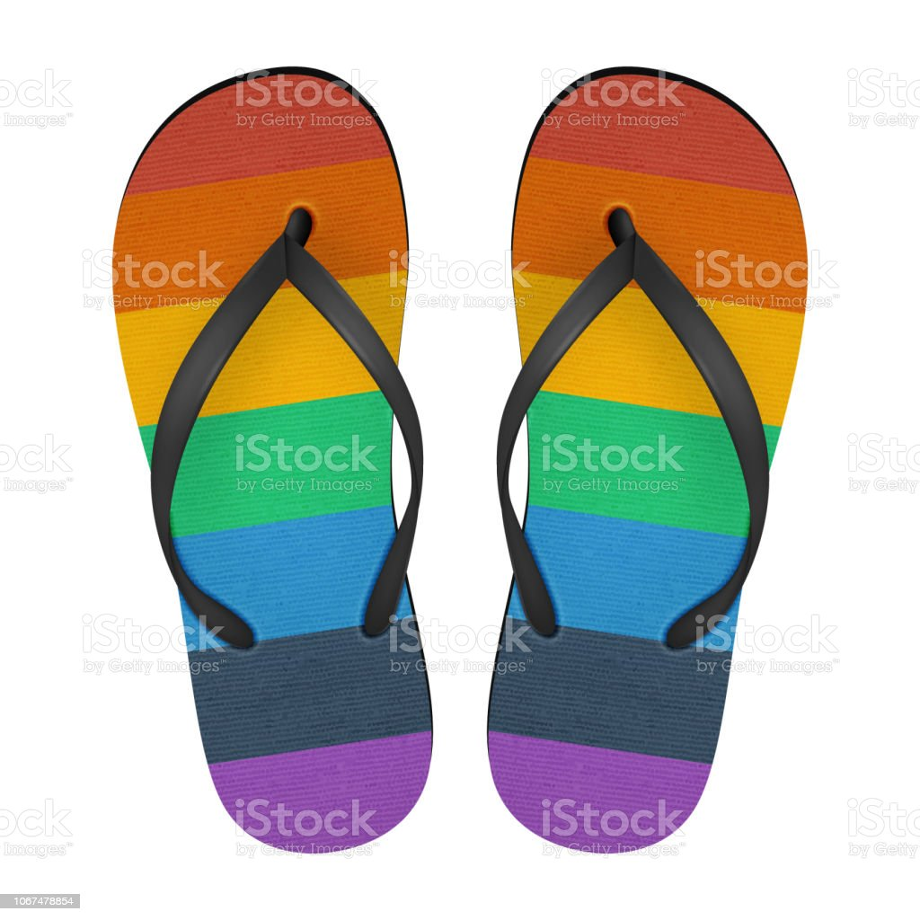 3438ffa0e6ab Vector Realistic 3d Colors of Rainbow Flip Flop Set Closeup Isolated on  White Background. Design Template of Summer Beach Holiday Flip Flops Pair  For ...