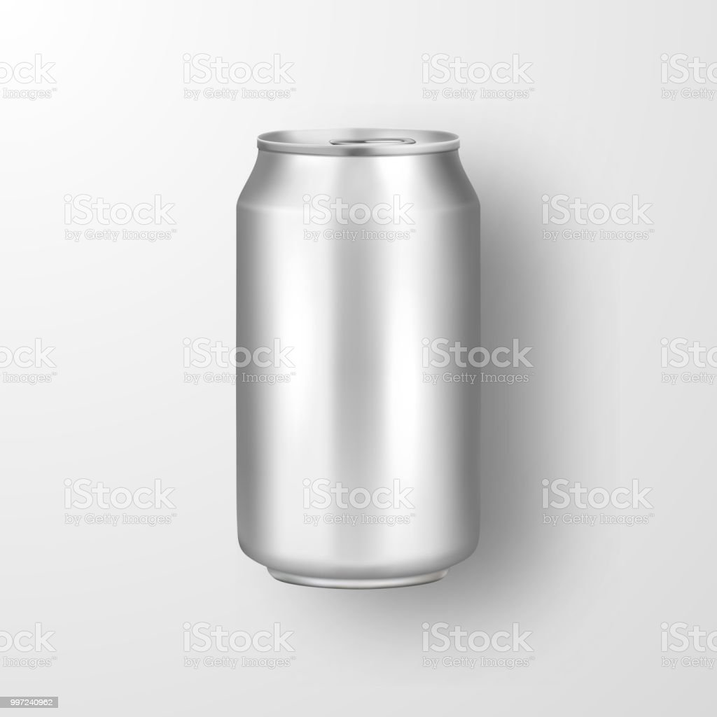 vector realistic 3d empty glossy metal silver aluminium beer pack or