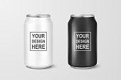 Vector realistic 3d empty glossy metal white and black aluminium beer pack or can set visual 330ml. Can be used for lager, alcohol, soft drink, soda, fizzy pop, lemonade, cola, energy drink, juice, water etc. Closeup isolated on white background. Design template of packaging mockup for graphics. Front view.