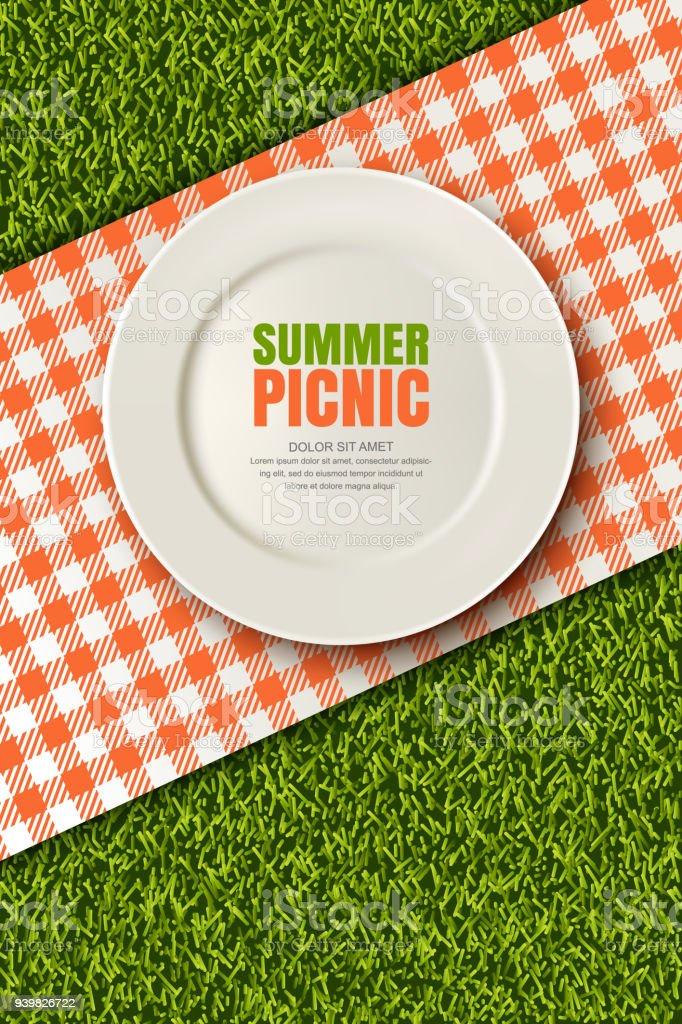 Vector realista 3d ilustração de manta de placa, vermelho na grama verde. Piquenique no parque. Bandeira, modelo de design de cartaz - ilustração de arte em vetor