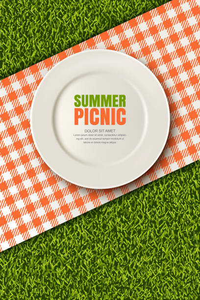 Vektor-realistische 3d Illustration der Platte, rot kariert auf grünen Rasen. Picknick im Park. Banner, Poster-Design-Vorlage – Vektorgrafik