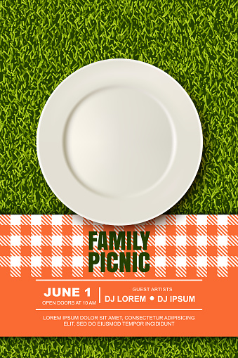 Vector realistic 3d illustration of plate, red plaid on green grass lawn. Picnic in park. Banner, poster design template