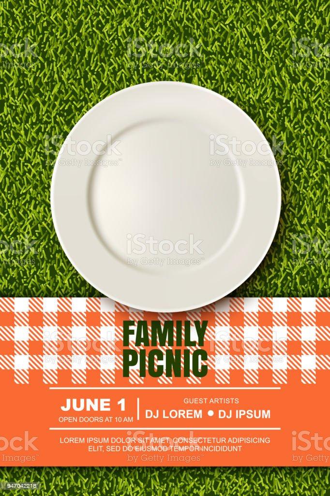 ベクター緑の草の芝生の上のプレート、赤い格子縞の現実的な 3 d グラフィック。公園でピクニック。バナー、ポスター デザイン テンプレート ベクターアートイラスト