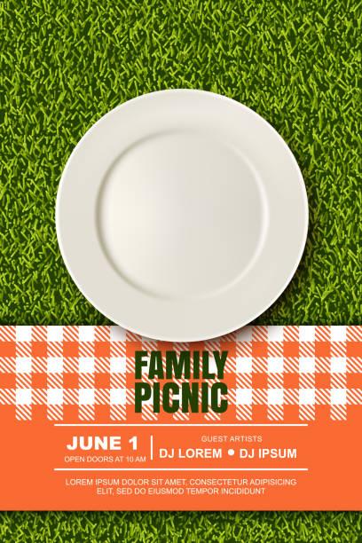 ilustraciones, imágenes clip art, dibujos animados e iconos de stock de ilustración 3d realista de vector de cuadros placa roja sobre el césped de hierba verde. picnic en el parque. banner, plantilla de diseño de cartel - picnic
