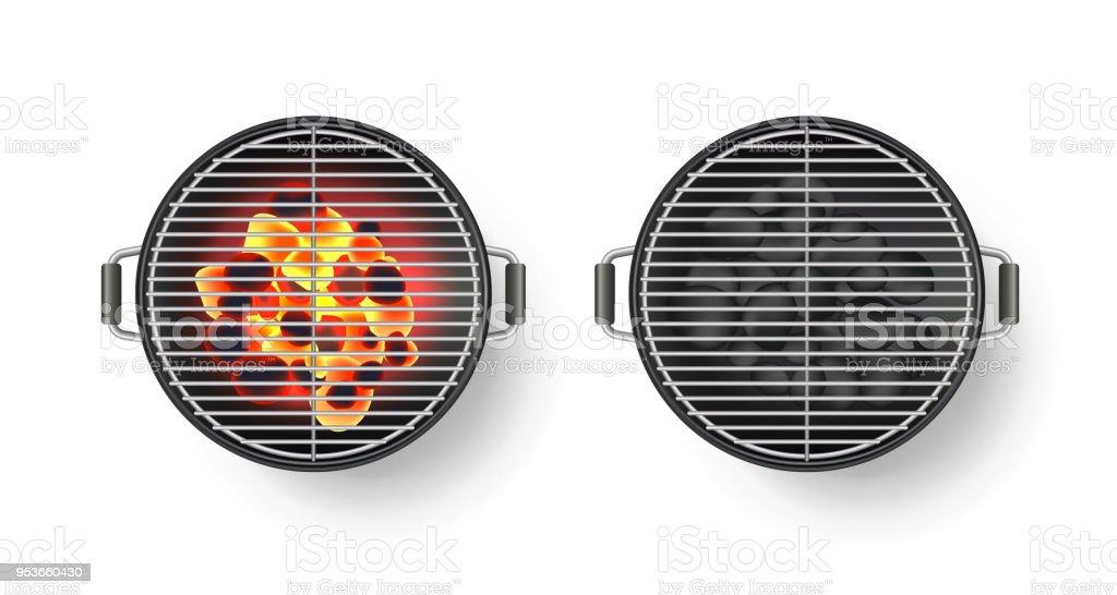 Vector ilustración 3d realista de parrilla redonda vacía con carbón caliente, aislado sobre fondo blanco. Vista superior de la barbacoa - ilustración de arte vectorial