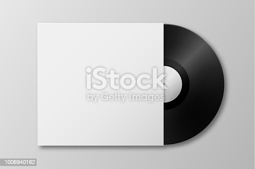 Vector realistic 3d music gramophone vinyl LP record with cover icon closeup isolated on white background. Design template of retro long play for advertising, branding, mockup, packaging for graphics. Top view.