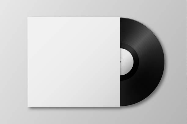 vektor-realistische 3d musik vinyl lp schallplatte mit abdeckung symbol closeup isoliert auf weißem hintergrund. designvorlage von retro-longplay für werbung, branding, mock-up, verpackungen für grafiken. ansicht von oben - schallplatte stock-grafiken, -clipart, -cartoons und -symbole