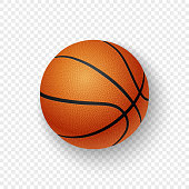 istock Vector realistic 3d orange brown classic basketball icon closeup isolated on transparency grid background. Design template for graphics, mockup. Top view 1013903776