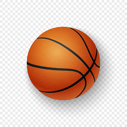 Vector realistic 3d orange brown classic basketball icon closeup isolated on transparency grid background. Design template for graphics, mockup. Top view