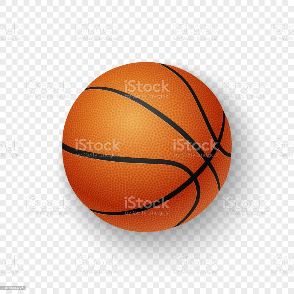Vector realistic 3d orange brown classic basketball icon closeup isolated on transparency grid background. Design template for graphics, mockup. Top view vector art illustration