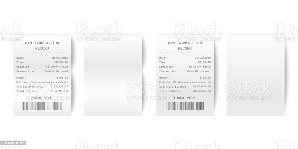 Vector Realistic 3d Paper Printed ATM Transaction Record Receipt Set Closeup Isolated on White Background. Design Template of Bill ATM, Receipt Records, Paper Financial Check for Mockup. Top View - arte vettoriale royalty-free di Affari