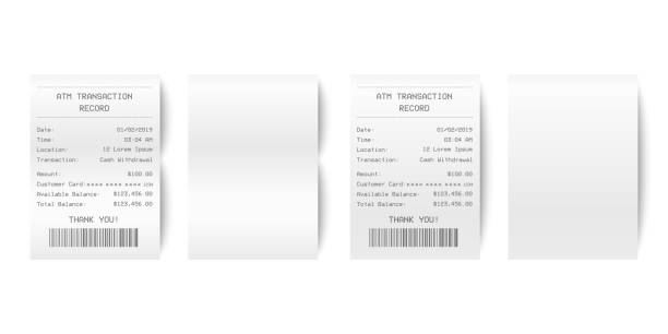 illustrazioni stock, clip art, cartoni animati e icone di tendenza di vector realistic 3d paper printed atm transaction record receipt set closeup isolated on white background. design template of bill atm, receipt records, paper financial check for mockup. top view - scontrino fiscale