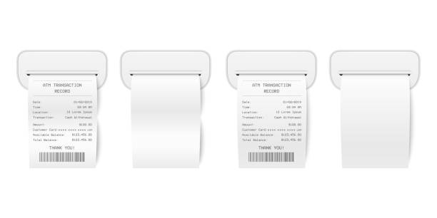 illustrazioni stock, clip art, cartoni animati e icone di tendenza di vector realistic 3d paper printed atm transaction record receipt with atm skimmer set closeup isolated on white. design template of bill atm, receipt records, financial check for mockup. front view - scontrino