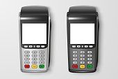 Vector Realistic 3d Payment Machine set. POS Terminal Closeup Isolated on Transparency Grid Background. Design Template of Bank Payment Terminal, Mockup. Processing NFC payments device. Top View.