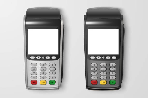 Vector Realistic 3d Payment Machine set. POS Terminal Closeup Isolated on Transparency Grid Background. Design Template of Bank Payment Terminal, Mockup. Processing NFC payments device. Top View Vector Realistic 3d Payment Machine set. POS Terminal Closeup Isolated on Transparency Grid Background. Design Template of Bank Payment Terminal, Mockup. Processing NFC payments device. Top View. station stock illustrations