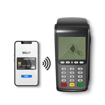 Vector Realistic 3d Payment Wi-Fi Black Machine, Smarthone. POS Terminal, Phone, Credit Card Isolated. Design Template of Bank Payment Terminal, Telephone, Mockup. Payments Device. Top View