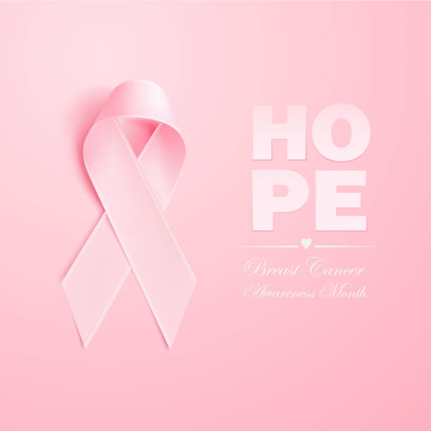 Vector realistic 3d pink silk ribbon breast cancer Realistic 3d pink ribbon, breast cancer awareness symbol. Vector elegant bow closeup, woman female health support solidarity emblem. pink illustration, background hope banner poster design breast stock illustrations