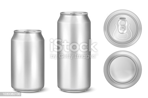 Vector realistic 3d silver empty glossy metal black aluminium beer pack or can visual 330ml 500ml. Can be used for lager, alcohol, soft drink, soda, fizzy pop, lemonade, cola, energy drink, juice, water etc. Icon set closeup isolated onwhite background. Design template of packaging mockup for graphics. Front, top and back view.