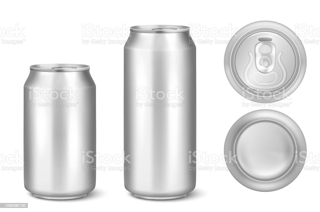 Vector realistic 3d silver empty glossy metal black aluminium beer pack or can visual 330ml 500ml. Can be used for lager, alcohol, soft drink, soda, fizzy pop, lemonade, cola, energy drink, juice, water etc. Icon set closeup isolated onwhite background vector art illustration